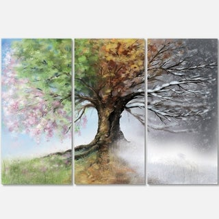 Tree with Four Seasons - Tree Painting Glossy Metal Wall Art - 36Wx28H