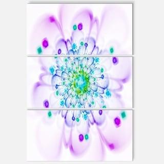 Simple Purple Blue Fractal Flower - Floral Glossy Metal Wall Art