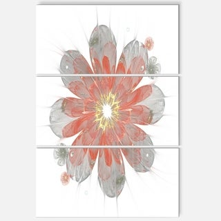 Simple Red and White Fractal Flower - Floral Glossy Metal Wall Art