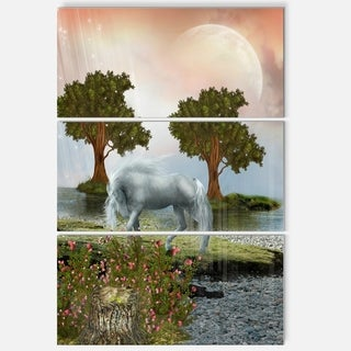White Horse and Green Trees - Landscape Art Glossy Metal Wall Art - 36Wx28H