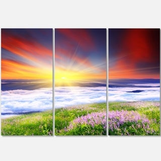 Sunrise with Blooming Flowers - Landscape Art Glossy Metal Wall Art - 36Wx28H