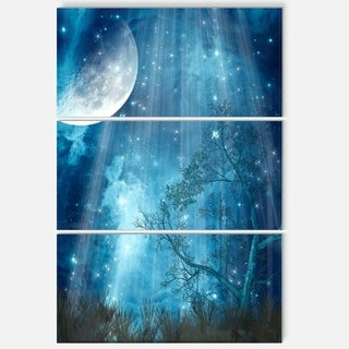 Big Moon in Blue Forest - Landscape Art Glossy Metal Wall Art - 36Wx28H