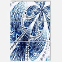 Dark Blue Fractal Flower Pattern Digital - Floral Glossy Metal Wall Art