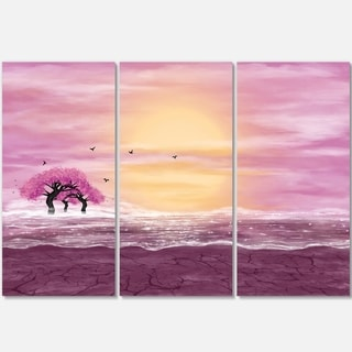 Water and Pink Trees in Desert - Landscape Art Glossy Metal Wall Art - 36Wx28H