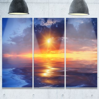 Cloudy Sunset Reflection in Lake - Skyscape Painting Glossy Metal Wall Art - 36Wx28H
