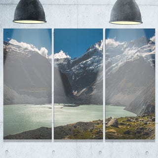 Frosty Mountains Over Blue Lake - Landscape Glossy Metal Wall Art - 36Wx28H