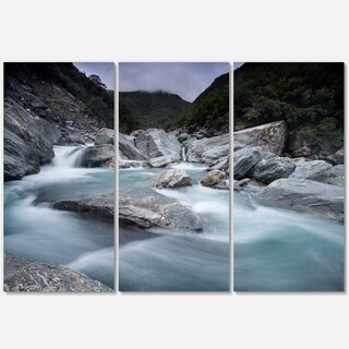 Slow Motion Mountain River and Rocks - Landscape Glossy Metal Wall Art - 36Wx28H