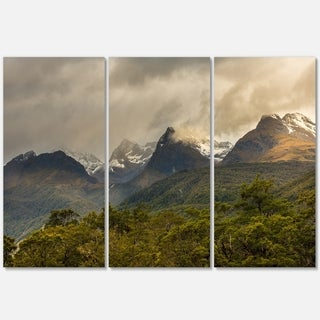 Green Mountains under Stormy Clouds - Landscape Glossy Metal Wall Art - 36Wx28H