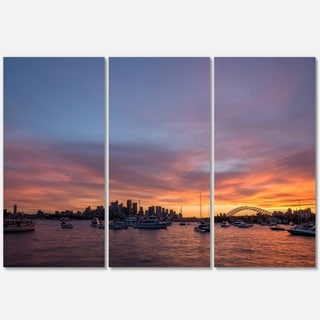 Ferry in Sydney Harbor at Sunset - Landscape Glossy Metal Wall Art - 36Wx28H