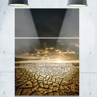 Drought Land under Cloudy Skies - Modern Landscape Glossy Metal Wall Art - 36Wx28H