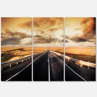 Road through Desert Panorama - Extra Large Glossy Metal Wall Art - 36Wx28H Landscape