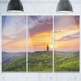 Lighthouse at Gorgeous Sunset - Extra Large Glossy Metal Wall Art - 36Wx28H Landscape