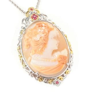 One-of-a-kind Michael Valitutti Carved Cameo and Orange Sapphire Pendant