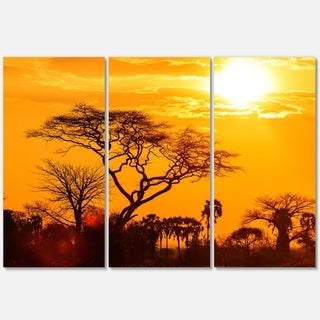 Orange Glow of African Sunset - Extra Large Glossy Metal Wall Art - 36Wx28H Landscape