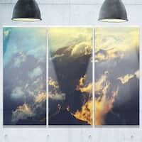 Sunset on Hill above Clouds - Extra Large Glossy Metal Wall Art - 36Wx28H Landscape