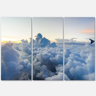 Light Blue Heavy Clouds in Sky - Contemporary Landscape Glossy Metal Wall Art - 36Wx28H