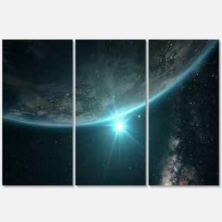 Sunrise in Earth from Space - Contemporary Landscape Glossy Metal Wall Art - 36Wx28H