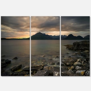 Rocky coastline of Loch Scavaig - Contemporary Landscape Glossy Metal Wall Art - 36Wx28H