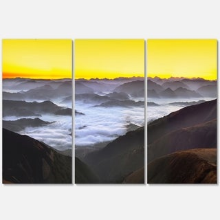 Foggy Sunrise Over Mountains - Landscape Glossy Metal Wall Art - 36Wx28H