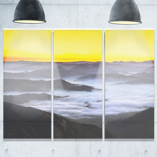 Yellow Sky and Foggy Mountains - Landscape Glossy Metal Wall Art - 36Wx28H