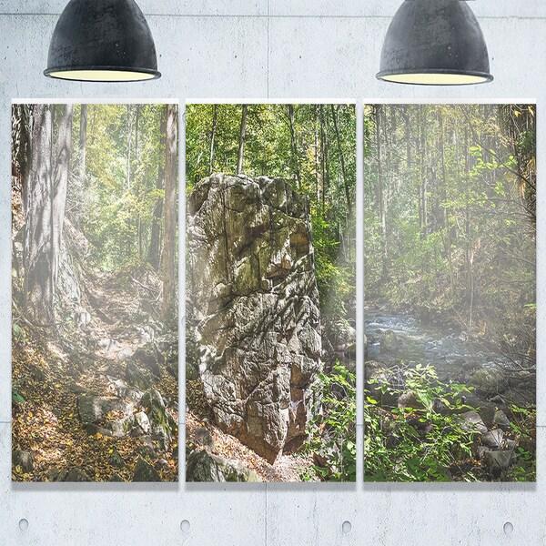 Huge Rock in Black River Shore - Landscape Glossy Metal Wall Art - 36Wx28H