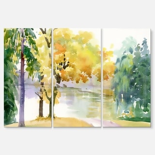 Beautiful Autumn Forest Watercolor - Landscape Glossy Metal Wall Art - 36Wx28H