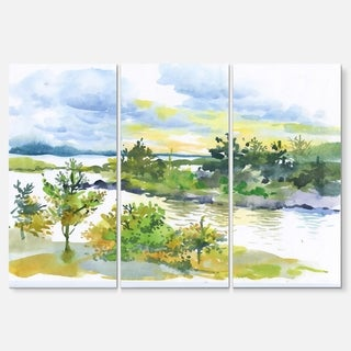 Autumn Forest and Lake Watercolor - Landscape Glossy Metal Wall Art - 36Wx28H