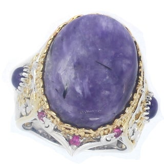 One-of-a-kind Michael Valitutti Charoite with Amethyst and Pink Sapphire Cocktail Ring