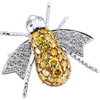 18Kt Two Tone Handmade Honeybee Pin
