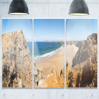 Rocky Bay Portugal Panorama - Landscape Glossy Metal Wall Art - 36Wx28H