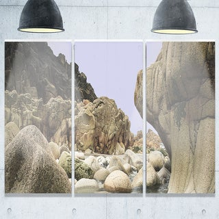 Smooth Rocks in Coastline Panorama - Landscape Glossy Metal Wall Art - 36Wx28H