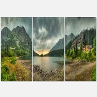 Mountain Chalet at Sunset Panorama - Landscape Glossy Metal Wall Art - 36Wx28H