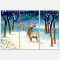 Amazing Winter Forest with Deer - Landscape Glossy Metal Wall Art - 36Wx28H