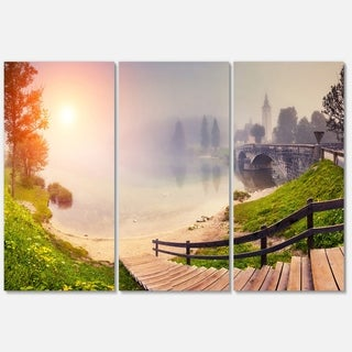 Majestic Foggy Morning in Lake - Landscape Glossy Metal Wall Art - 36Wx28H