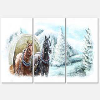 Painted Scene with Horses in Winter - Landscape Glossy Metal Wall Art - 36Wx28H