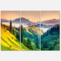 Brightly Green and Blue Mountains - Landscape Glossy Metal Wall Art - 36Wx28H