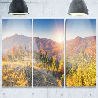 Majestic Fall Mountains Range - Landscape Glossy Metal Wall Art - 36Wx28H