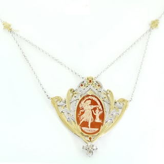 One-of-a-kind Michael Valitutti Carved Cameo and Orange Sapphire Necklace