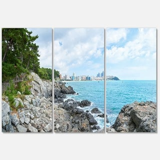 Pathway along the Coast of Dogbane - Landscape Glossy Metal Wall Art - 36Wx28H