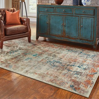 Distressed Traditional Beige/ Multi Area Rug (5'3 x 7'6) (As Is Item)