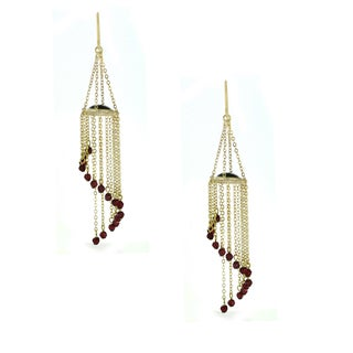 One-of-a-kind Michael Valitutti Dangling Garnet Bead Hook Earrings