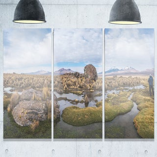 Bolivia Volcanoes Panoramic View - Landscape Glossy Metal Wall Art - 36Wx28H