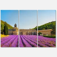 Abbey of Senanque Lavender Flowers - Oversized Landscape Glossy Metal Wall Art - 36Wx28H - 36 x 28