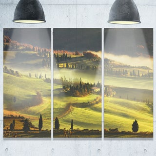 Tuscany Farmland and Cypress Trees - Oversized Landscape Glossy Metal Wall Art - 36Wx28H