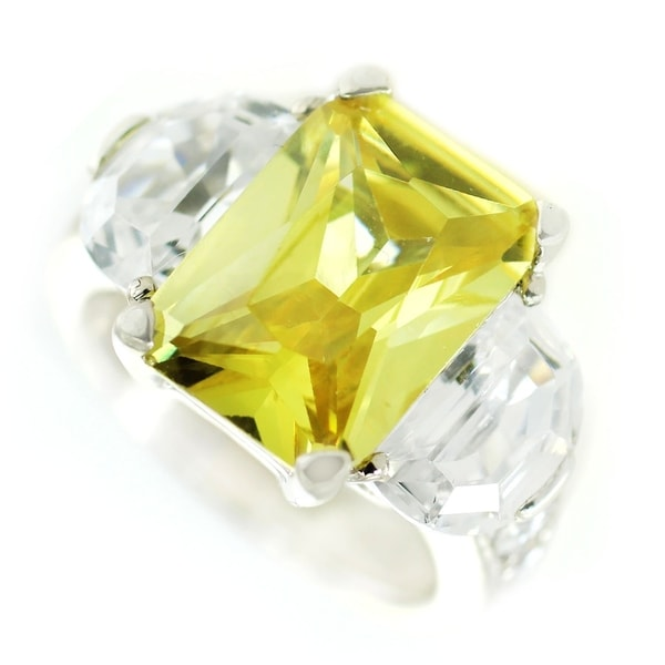One-of-a-kind Michael Valitutti Canary and Clear Cubic Zirconia Cocktail Ring