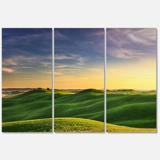 Green Rural Rolling Hills Tuscany - Oversized Landscape Glossy Metal Wall Art - 36Wx28H