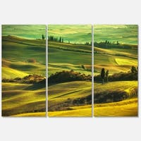 Green Rolling Hills on Misty Sunset - Oversized Landscape Glossy Metal Wall Art - 36Wx28H
