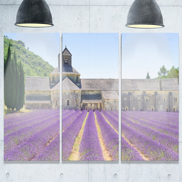 Abbey of Senanque Blooming Lavender - Oversized Landscape Glossy Metal Wall Art - 36Wx28H - 36 x 28