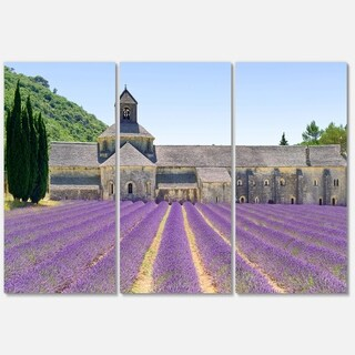 Abbey of Senanque Blooming Lavender - Oversized Landscape Glossy Metal Wall Art - 36Wx28H