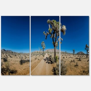 Sandy Desert Road Panorama - Oversized Landscape Glossy Metal Wall Art - 36Wx28H